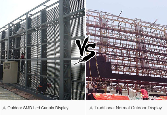 Compare with traditional led screen on roof