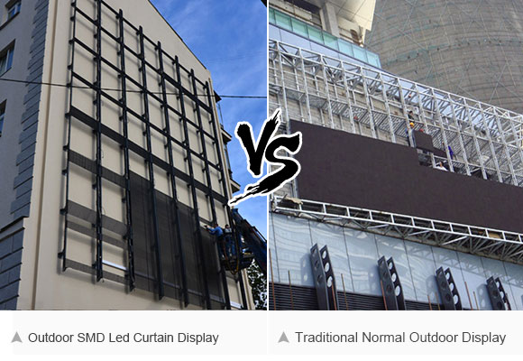 Compare with normal led display installed on external wall