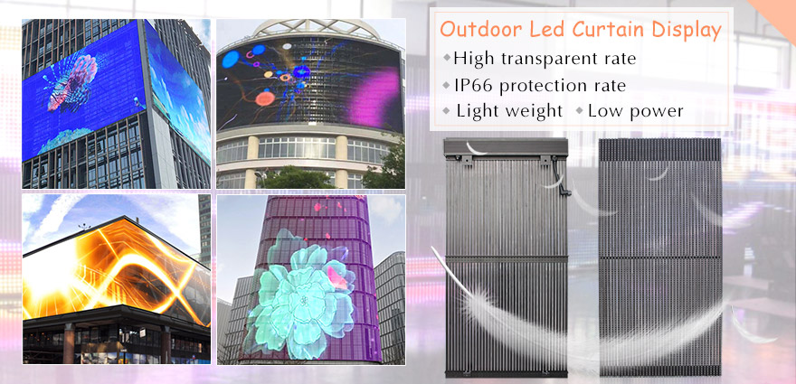 Led strip curtain led display screen is mainly suitable install on high building external glass wall, roof of building and shop window showcase. These LED video wall  modules feature excellent transparency, light transmission and ultra-lightweight. With t